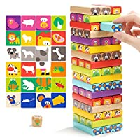 Top Bright Wooden Stacking Games for Kids 3 4 Year Olds Boys Girls Gifts STEM Toys with Card & Dice 51 Pieces Party Game