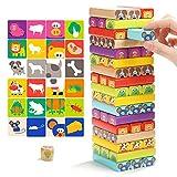 TOP BRIGHT Wunderbare Holzbausteine-51 Teile Bauklötze aus Holz Kinderspielzeug Baukasten Geschenk für Kinder