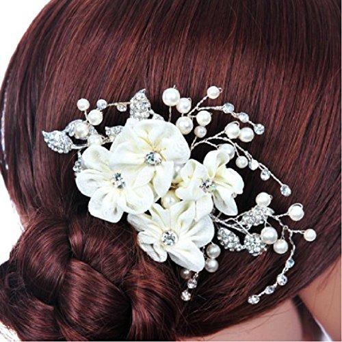 Veewon Fashion novia Hair Comb boda accesorios Rhinestone Tocado Flor Lado Tiara