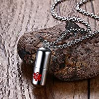 Winpavo Urn Cremation Keepsake Ashes Urns Stainless Steel Pills Capsule Cremation Ash Urns Necklaces With Medical Alert Sign Secret Compartment