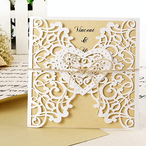 10 x cartes invitation kraft COE...