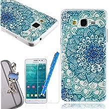 We Love Case Funda Carcasa para Samsung Galaxy Grand Prime G530 Silicona TPU Suave Funda Cascara Protección Anti Polvo Resistente Diseño Creativo Original de Moda Nuevamente con 1 x Stylus y 1 x Protector de Pantalla y 1 x Colk Anti-Polvo ( Samsung Grand Prime , dibujo Lotus Azul )