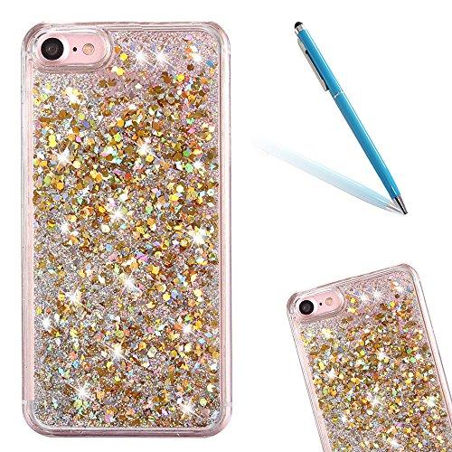 """iPhone 7 Hülle, [Kristallklar Durchsichtig] Handytasche CLTPY iPhone 7 Glanz Sparkle Diamant Sternherz Muster Dynamisch Liquid Hardcase für 4.7"""" Apple iPhone 7 + 1 x Griffel - Blau Silber Gold"""