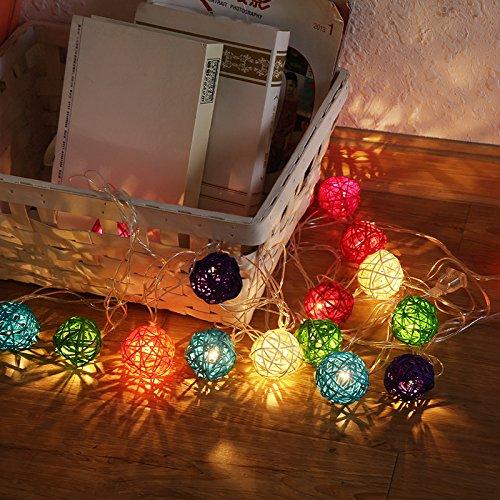 Luci della stringa, chickwin 2.5m creative rattan led luce natalizia di palla 4cm di luci caso di batteria di luce 20 lampadina led per decorare la all'aperto festa natale fiesta matrimonio camera da letto (palla di rattan / color)
