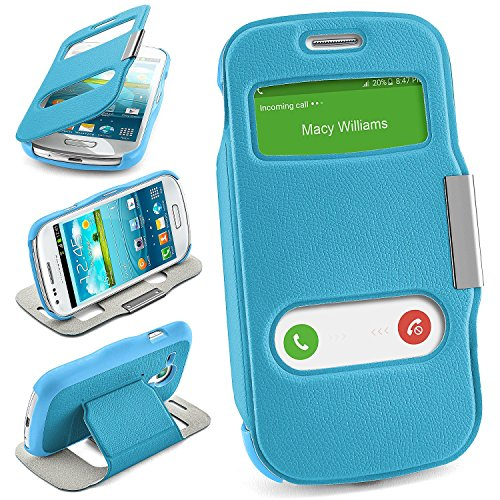 moex Samsung Galaxy S3 Mini   Hülle Hell-Blau mit Sicht-Fenster Window Cover Schutzhülle Ultra-Slim Handyhülle für Samsung Galaxy S3 Mini S III Case Flip Handy-Tasche Stand-Funktion
