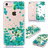 iPhone 6 Plus/6S Plus Glitzer Hülle,iPhone 6 Plus/6S Plus Flüssig Hülle,Weich 3D Bling Liquid Glitzer TPU Klar Transparent Durchsichtiges flüssigkeit Stern Fischschuppen Treibsand Handyhülle,Grün