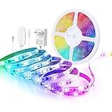 Govee Tira LED 5m RGBIC, Luces LED Habitacion Bluetooth Arcoíris, Control de App y Caja de Control, Modo de Música y Escena,