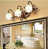HOHE SHOP- Europäische geführte Spiegel-Front-Lampe Badmöbel Spiegelschrank Lampe Kreative Minimalist Wandleuchten American Pastoral ( Farbe : Warm-2 Lights )