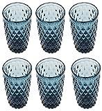 Vintage 6 Teile Set Glasnetz König Trinkglas Glas Gläser Weingläser Wasserglas Longdrinkglas (Blau)