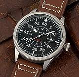 Gigandet Automatik Herren-Armbanduhr Red Baron I Fliegeruhr Uhr Datum Analog Lederarmband Braun Schwarz G8-001 - 2