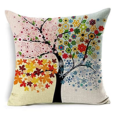 Vintage Tree Throw Pillows Cotton Linen Decorative Pillow Cover with Zip