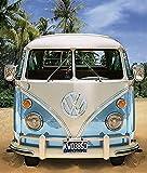 Grande couverture en polaire d'origine VW Bulli–130cm X 170cm–Neuf & Emballage d'origine Volkswagen VW Bus T1Exklusiv modèle 001Bleu–Couverture–Plaid–Couvre-lit–Plaid Couverture polaire–Doudou–Microfibre