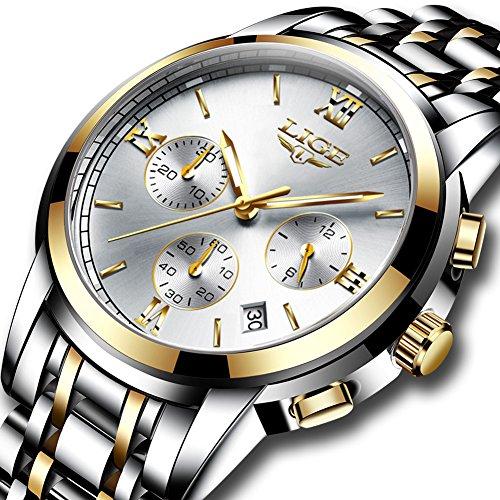 Orologi uomo,lige acciaio inossidabile cronografo sportivo analogico al quarzo orologio gents impermeabile data moda casual lusso orologi da polso oro argento