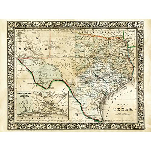 Mitchell 1860 Map Texas County USA State Art Print Canvas Premium Wall Decor Poster Mural Karte Vereinigte Staaten von Amerika Wand Deko -