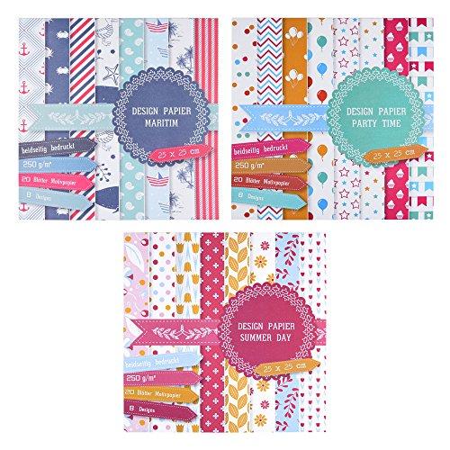 3 x Motivblock mit je 20 Blättern beidseitig bedruckt, Designpapier, Bastelpapier, Dekorpapier, 60 Blätter, 24 Designs