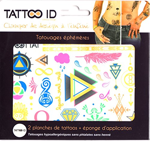 TATTOO ID RAINBOW coloré tatouage ephemere temporaire hypoallergénique Fabriqué en FRANCE Fille et Garçon. 2 planches + 1 éponge cosmétique Fille Garço2