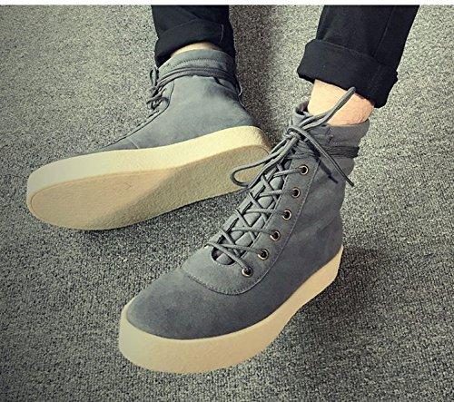 HL-PYL-Uomini stivali in tube Martin scarpe All-Match retrò stivali da cavallo. gray