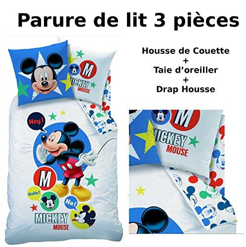 Mickey–Juego de cama (3pcs) 100% algodón–Funda de edredón (140x 200) + funda de almohada (63x 63) + sábana bajera (90x 190)–Imprimé Expressions