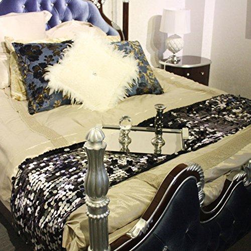 Nappe Drapeau noir de luxe de lit Lit pavillon-A 50x240cm(20x94inch)