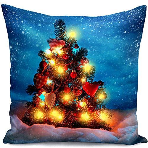 Funda de almohada de Navidad, fundas de almohada con luz LED, fundas de cojín de la serie de Navidad...