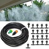 KING DO WAY Conjuntos de Riego, Kit Riego Sistema de Riego DIY para Irrigación Riego Bruma Jardín Invernadero (20 Boquillas de Rociadores con 20 Metros Manguera)
