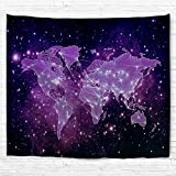 Starry World Map Tapestry, Goodbath Universe Nebel Star in Outer Space Fabric Wall Hanging for Living Room Bedroom Dorm, 90 x 70 Inch, Purple