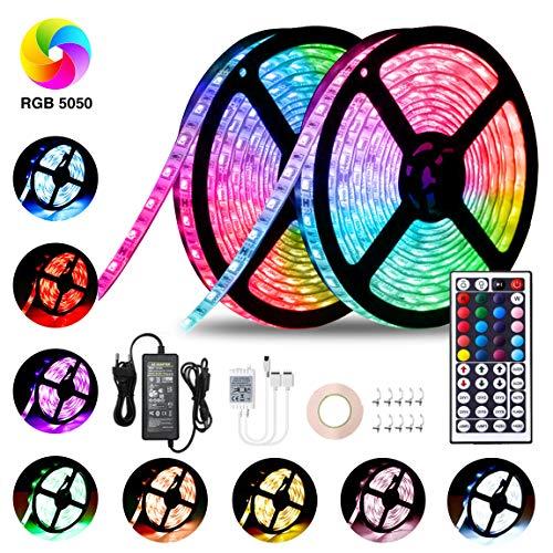 LED Streifen 10M, VOYOMO LED Strips RGB 300LEDs SMD5050, 20 Farben mit 44 Tasten IR-Fernbedienung, 12V 5A Netzteil IP65 Wasserdicht für Beleuchtung Deko (umfassen Klebeband und Schnallen) -