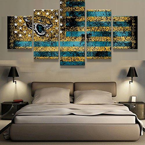 PEACOCK JEWELS Premium Qualität Bedruckte Leinwand Wall Art Poster 5Stück/5Pannel Wand Decor Jacksonville Jaguars Sport Flagge Logo Malerei, Home Decor Bilder-mit Holzrahmen (Jacksonville Logo-poster Jaguars)
