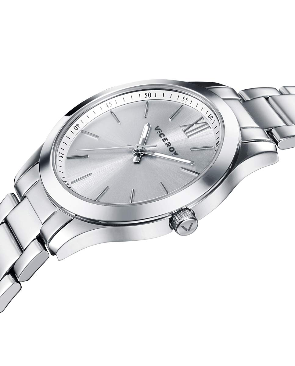 Viceroy 401068-03 – Reloj para Mujer Acero, Esfera Plateada