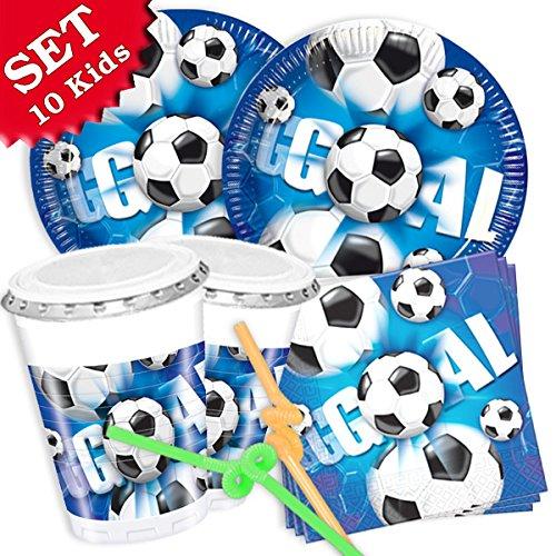 Volker Rasehorn Fussball Geburtstag-Deko-Set, 60-teilig Zum Kinder-Geburtstag Jungen und Mädchen und FUßBALL- Motto-Party für 10 Kids