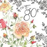 twizler 80. Geburtstag Karte für Ihre mit Silber folieren, Einzigartige Aquarell Effekt und Blumen–80Jahre alte–Alter 80Geburtstag Karte