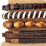 4 Braun Wickeln um Strap Armband Herren Damen, Multi-Strang Perlen Holz Armband, Lederarmband Baumwolle Schweissband - 3