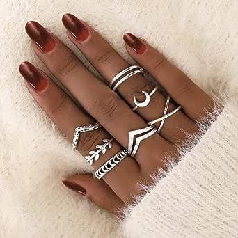 Aukmla Boho Knuckle Ring Set Silver Moon Impilabili Finger Ring Midi Size Joint Knuckle Ring Set per donne e ragazze 7PCS