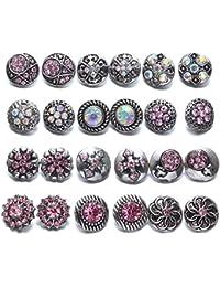 Soleebee 24 Pièces 12mm Même couleur Bouton Pression en Strass Alliage Bijoux Charms (Rose)
