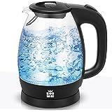 ForMe Glas Vattenkokare 1,7 L I Elektrisk Vattenkokare 2200 W I Rostfritt Stål Tekokare med Antikalkfilter I Blå LED-Belysnin