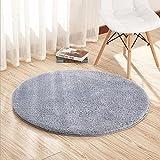 CAMAL Teppiche, Round Samt Yoga Teppich Dekorative Wohnzimmer Schlafzimmer und Badezimmer (80cm, Grau)