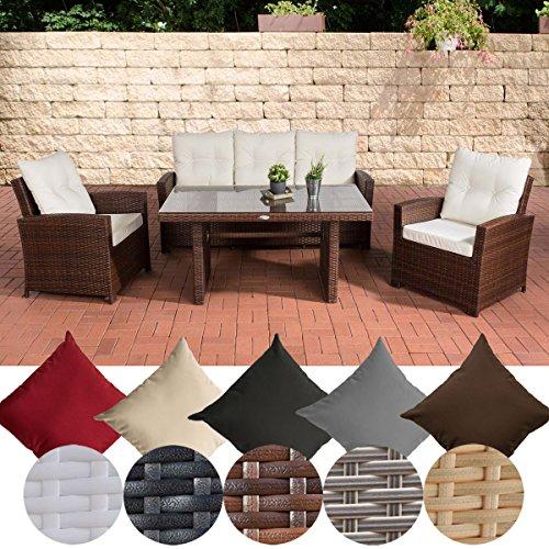 CLP Garten-Garnitur FISOLO, Poly-Rattan & Aluminium, 20 FARB-Varianten (3er Sofa, 2 Sessel + Tisch...