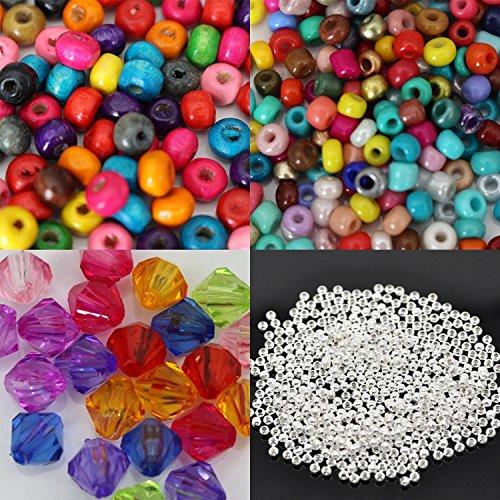 Kurtzy Kit de Bisutería de Lujo de 1000 Piezas de Plata chapada Juegos de Bisutería + Accesorios de Plata + Pinzas para Crear y Diseñar Tus Propios Collares Pulseras Pendientes Collares