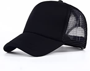 Krystle Women's Mesh and Half Net Adjustable Baseball Plain Curved Visor Cap, Free Size(Black, KRY-W-BLK-HLF-NET-CAP)