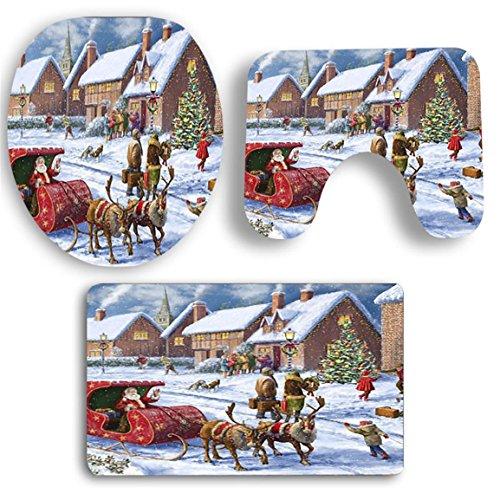 Sockel Teppich + Deckel WC-Deckel + Bad,Moonuy staub widerstand rutschfestigkeit 3 STÜCKE Weihnachten Bad Rutschfeste Sockel Teppich + Deckel Wc-abdeckung + Badematte Set (G)