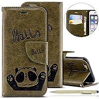 """Herbests Handytasche für iPhone 7 / iPhone 8 4.7"""" Lederhülle Niedlich 3D Panda Muster Flip Case Cover Hülle Leder Klapphülle Leder Tasche im Bookstyle Handyhülle Brieftasche Schutzhülle,Grün"""