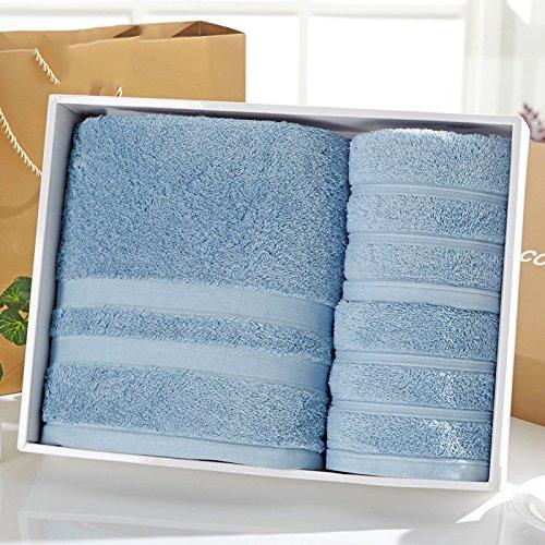 Europäische Praxis-serie (ZHFC europäische baumwolle handtuch geschenk baumwolle software praxis handtuch handtuch drei stück geschenk zurück,militärische blau)