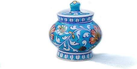 R.V.Crafts Lovely Sugar Jar in Blue Pottery