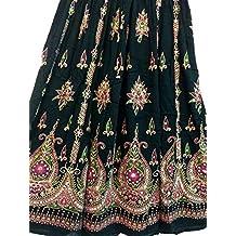 Dancer World Falda larga con lentejuelas, estilo bohemio, para danza del vientre, verde lima