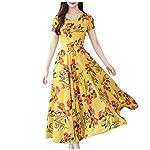 WDSWZ Women Dress Fashion Summer Grace Mid-Calf Short Sleeve Beach Floral Printing Dresses