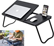 Folding Laptop Table Bed Tray Desk Stand with Phone Holder 6 Adjustable Incline Angle Foldable Legs Black Portable for Couch Bed and Sofa Computer Use