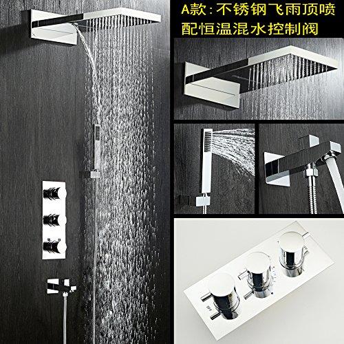 MangeooKupfer Wall Art thermostatische unter Wasser auf die drei führenden Raindance Funktion passen bündig Dusche, drei Edelstahl Ventil Wasser Duschen - Thermostatische Wall