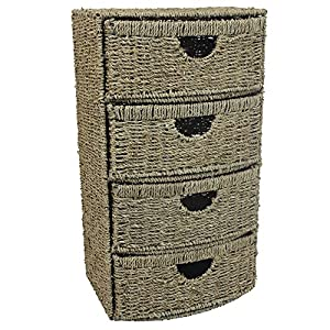 JVL Four-Drawer Bow Front Natural Seagrass Cabinet Chest Storage Unit, 38 x 28 x 68.5 cm