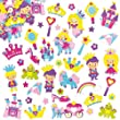 Princess Foam Stickers Self-Adhesive Shapes 30 Assorted Designs Kid's Craft Embellishments for Decorating, Scrapbooking & Card Making (Pack of 120)