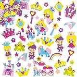 Aufkleber aus Schaumstoff - Prinzessin - Sticker Set für Kinder zum Basteln - als Mitgebsel zum Kindergeburtstag - 120 Stück